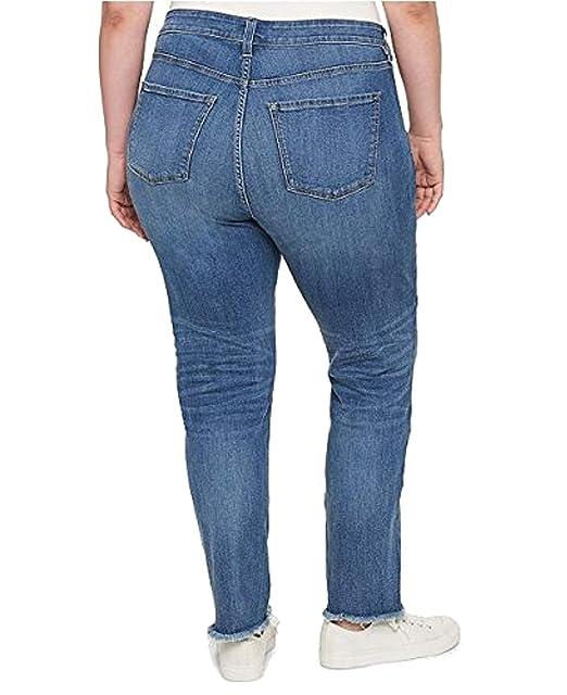 009abad784b Tommy Hilfiger Women s Plus Size Patched Raw-Hem Straight-Leg Jeans Shadow  Blue Wash 22W  Amazon.com.au  Fashion