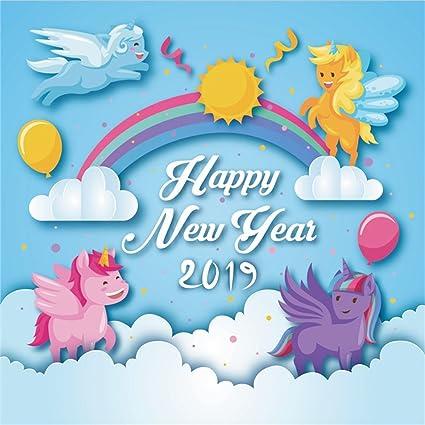 lfeey 5x5ft cute cartoon unicorn theme happy new year 2019 photography background rainbow sun clouds kids