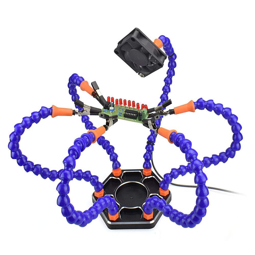 TuToy Diy Flexible Tercera mano Seis brazos Pcb Accesorio de mantenimiento Fpv Rc602 Herramienta de estación de soldadura con ventiladores USB