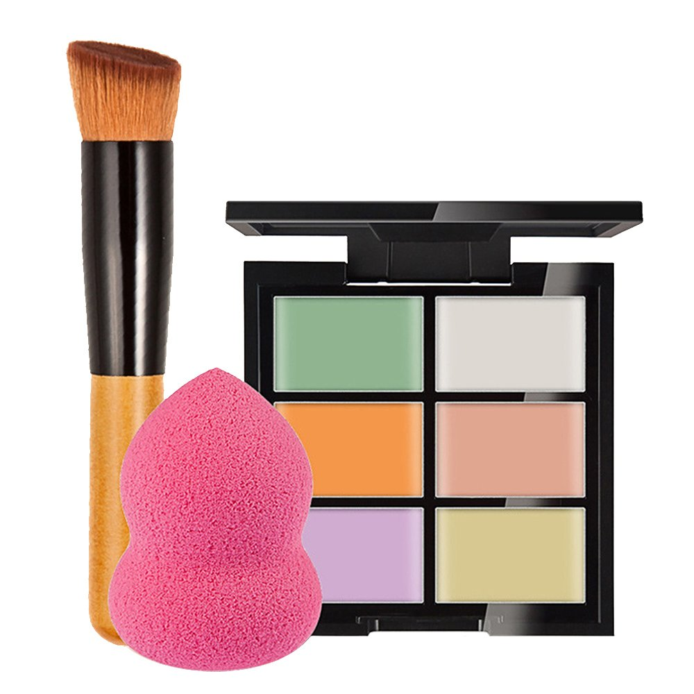 Elisona-6 Color Concealer Palette with Makeup Cosmetic Foundation Powder Blush Brush Sponge Puff Beauty Tool Set A