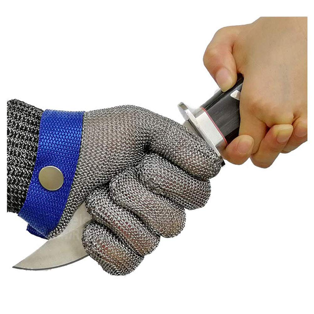 Schwer Cut Resistant Gloves-Stainless Steel Wire Metal Mesh Butcher Safety Work Glove for Meat Cutting, fishing(Extra Large)