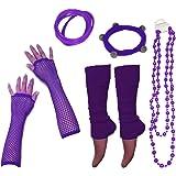 A-Express Mujer Chicas calentador de pierna Collar Pulsera Caucho Guantes para tutu fiesta disfraces - Púrpura