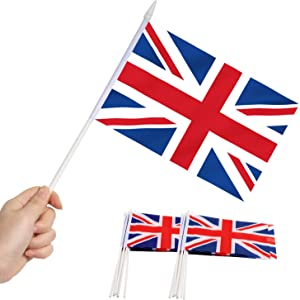 Anley British Union Jack UK Mini Flag 12 Pack - Hand Held Small Miniature Great Britain Flags on Stick - Fade Resistant & Vivid Colors - 5x8 Inch with Solid Pole & Spear Top