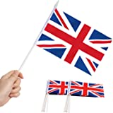 Anley British Union Jack UK Mini Flag 12 Pack - Hand Held Small Miniature Great Britain Flags on Stick - Fade Resistant & Viv