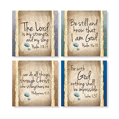 Carson Home Accents Set of 4 Square Stoneware House Coasters, ''Have Faith'' by Carson