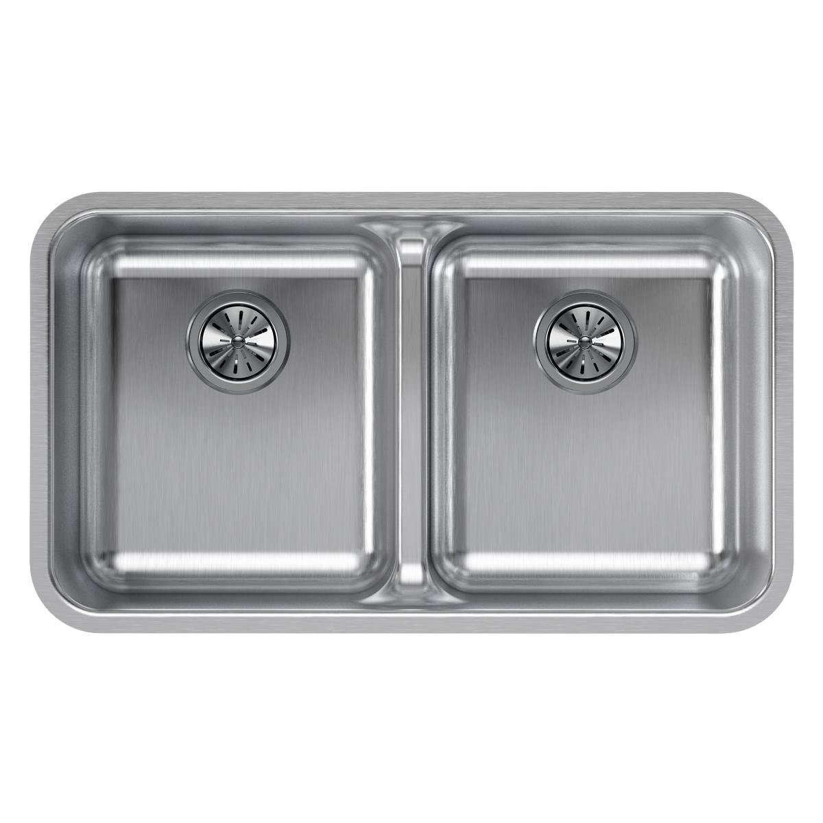 Elkay Lustertone ELUHAQD3218 Equal Double Bowl Undermount Stainless Steel Sink with Aqua Divide