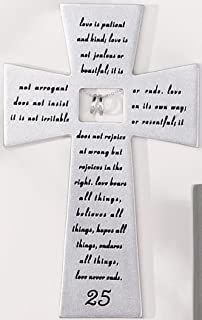 roman 25th silver wedding anniversary wall cross love never fails - 25th Wedding Anniversary Gifts