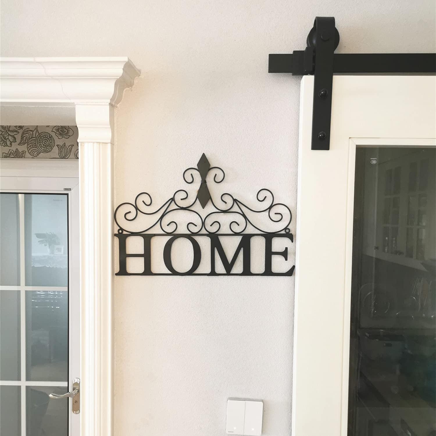 Yamfurvo Scrolled Home Word Wall Decor, Metal Wall Mounted Plaque Door Art Sign, Decorative Hanging Wall Ornament for Bedroom, Living Room, Dining Room, Black