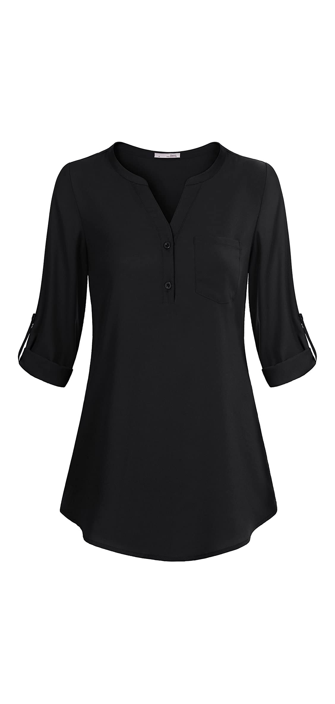 Women's V-neck Blouses / Roll-up Sleeve Button Casual