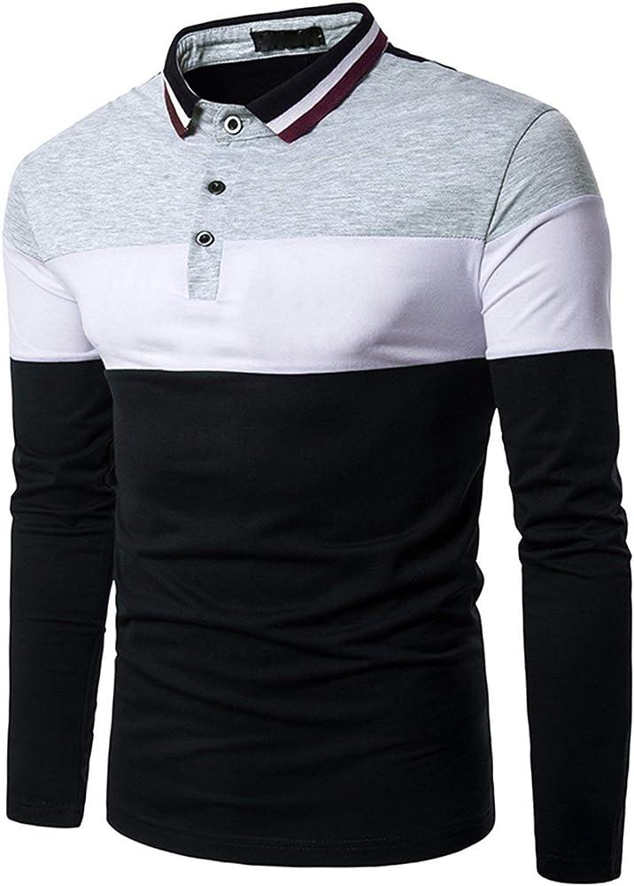 Camisa De Polo Camisa De Manga Larga para Hombre Basic Camisa De Polo De Estilo Elegante para Hombre Ocio Slim Fit Camiseta De Béisbol Tops Tops (Color : Grau 1, Size :