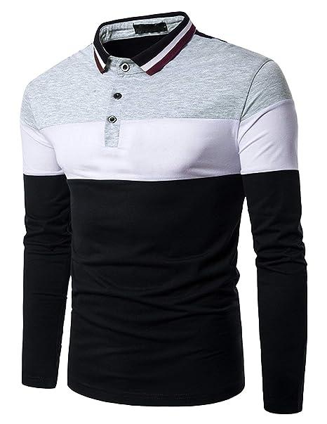 Camisa De Polo Camisa De Manga Larga para Hombre Camisa De Polo De Estilo  Especial Estilo Elegante para Hombre Ocio Slim Fit Camiseta De Béisbol  Tops  ... 7cac71a0bba8c