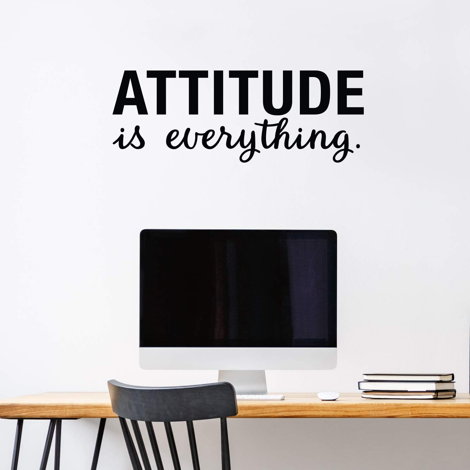 """Vinyl Wall Art Decal - Attitude is Everything - 11"""" x 30"""" - Modern Cute Optimistic Quote Sticker for Bedroom Closet Living Room Playroom Office Classroom School Coffee Shop Decor"""