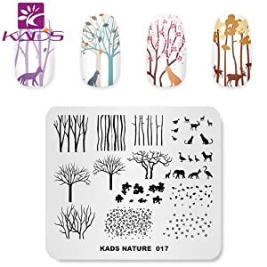 KADS Nail Stamping Plate Charming Fall Scenery Tree Defoliation Nature Template Image Design Plates for Nail Art Decoration and DIY Nail Art (NA017)
