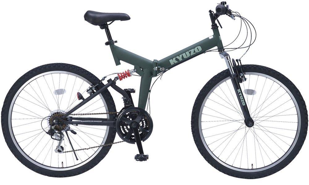 26インチ折りたたみマウンテンバイク 自転車の九蔵特注モデル シマノ製18段変速 グリップシフト フロントサスペンション リアサスペンション KYUZO KZ-104 (マットホグリーン) B01GZQIK6I