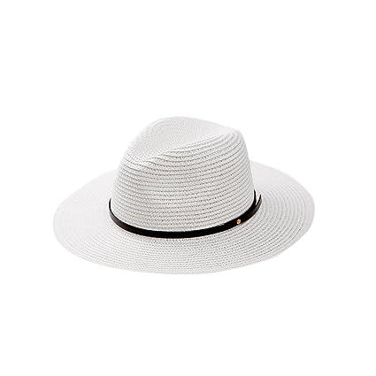 iBaste Verano Sombrero Paja de Ala Ancha Gorra de Playa Panamá Remache de  Cuero Decoración Jazz 9abb5807ec6