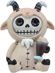 "Ebros Furrybones Billy The Goat Figurine Small 2.75"" Furry Bones Skeleton Monster Collectible Decor Statue Gothic DOD Buck Holding Goatie Sundae Milk Shake Sculpture"