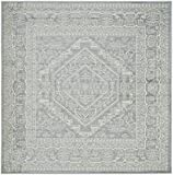 Safavieh Adirondack Collection ADR108T Slate and Ivory Oriental Vintage Medallion Square Area Rug (8' Square)