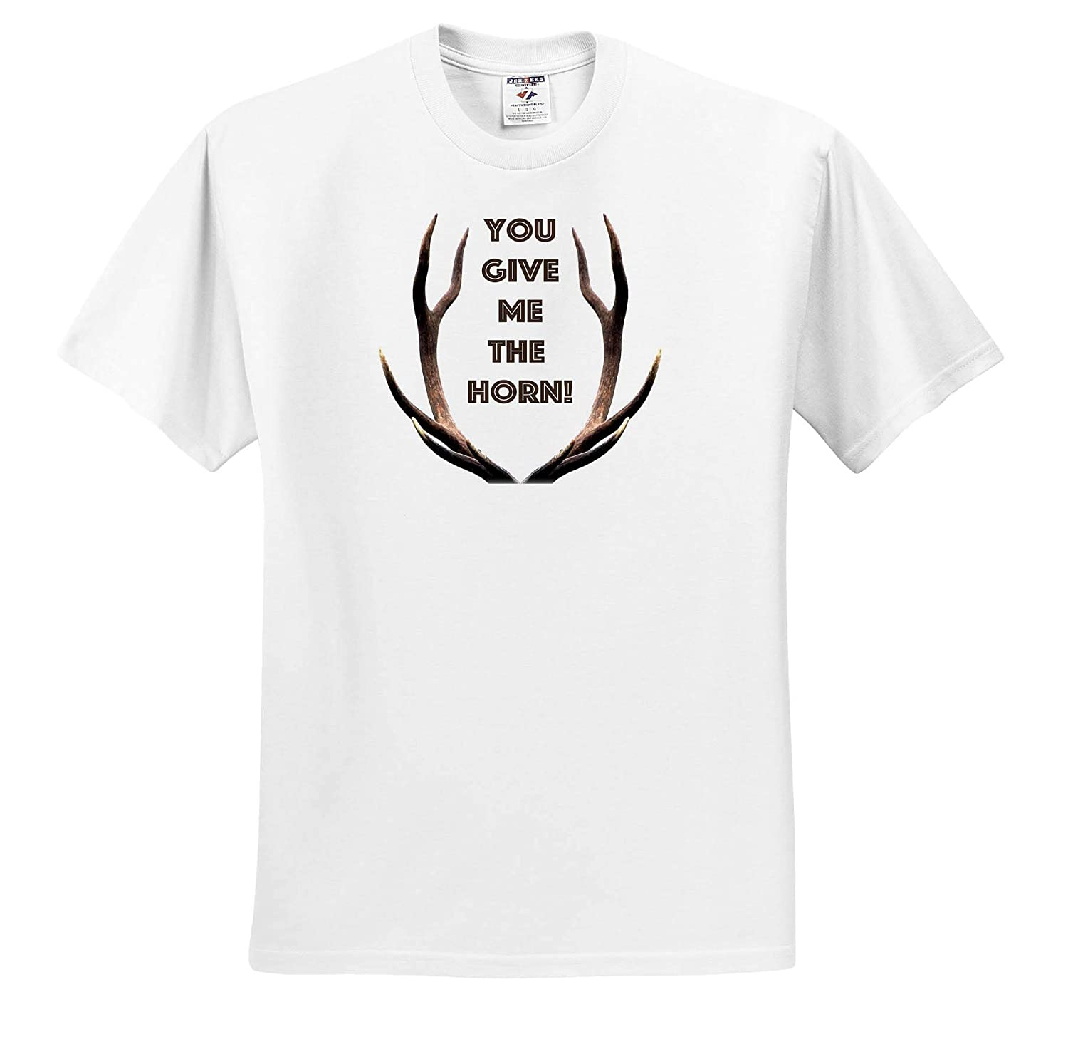 T-Shirts Brown Stag Antlers You give me The Horn Antler Horn 3dRose Made in The Highlands Vector