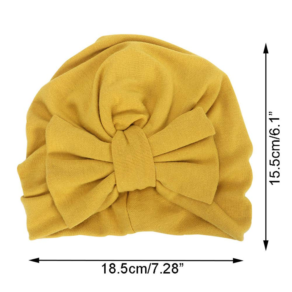 WARMSHOP Newborn Girls Boys Bowknot Winter Warm Solid Colors Headwear Hat for Baby Sleep Nursery Beanie Cap