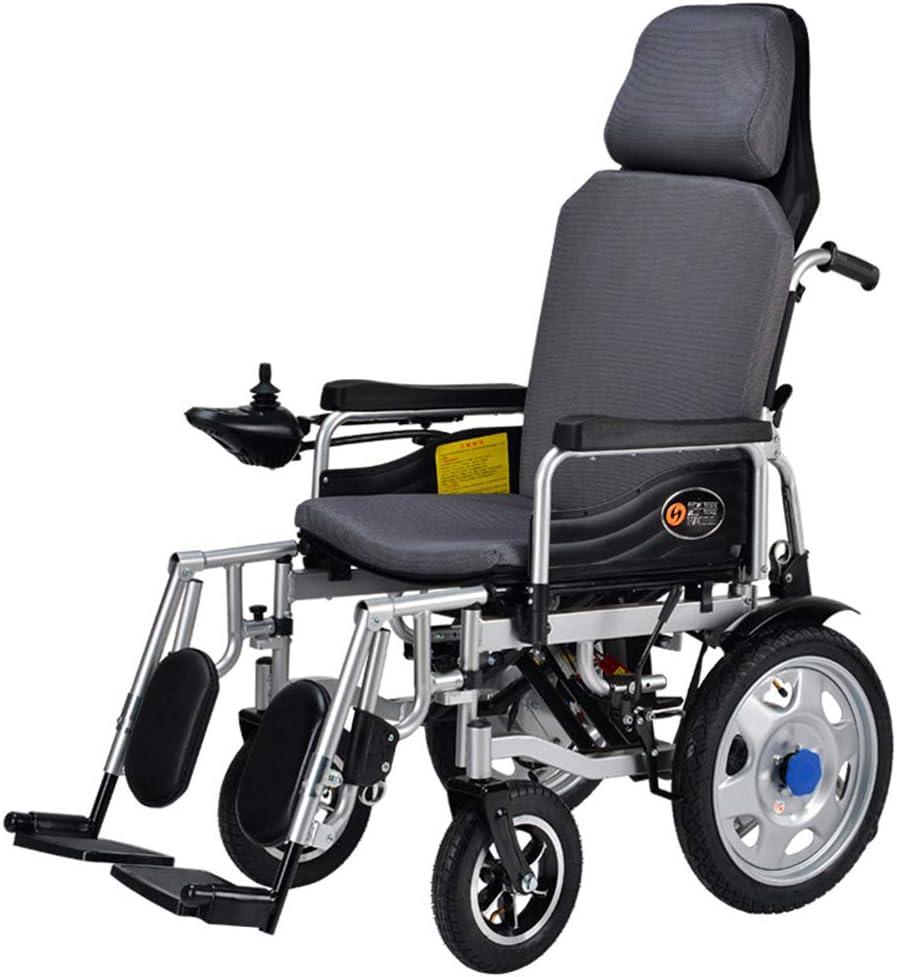 ZQYR Wheelchair@ Silla de Ruedas eléctrica Plegable para discapacitados Carro Plegable Antiguo Deshabilitado Scooter Capacidad de acción compensatoria, El Respaldo Puede Estar acostado (Gris)
