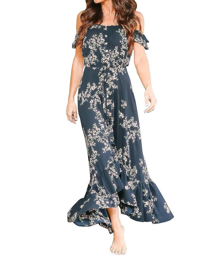 Navy Gobought Womens Floral Off Shoulder Ruffle Maxi Dress Flowy Split with Belt