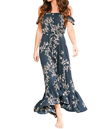 bacf3ccd1db Womens Floral Print Dresses Ruffle Off The Shoulder High Slit Long Maxi  Casual Chiffon Dress