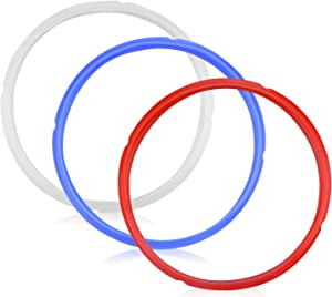 3 Pcs Silicone Sealing Ring for 5/6 qt Pressure Cookers Instant Pot Accessories Leak Proof BPA-Free Food-grade Silicone Gaskets for Instpot Easy Clean Perfect Accessory (Red/Blue/White)
