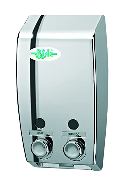 Bisk Dispensador jabon doble 2 x 400 ml chrome dispensador de loción montaje en pared 2