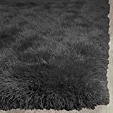 LA Rug Linens Fluffy Shimmer Modern Thick Plush Soft Pile Living Room Bedroom Floor Shag Rug Carpet Dark Gray Dark Grey Charcoal Patterned 5×7 Area Rug (Glorious Charcoal) Review