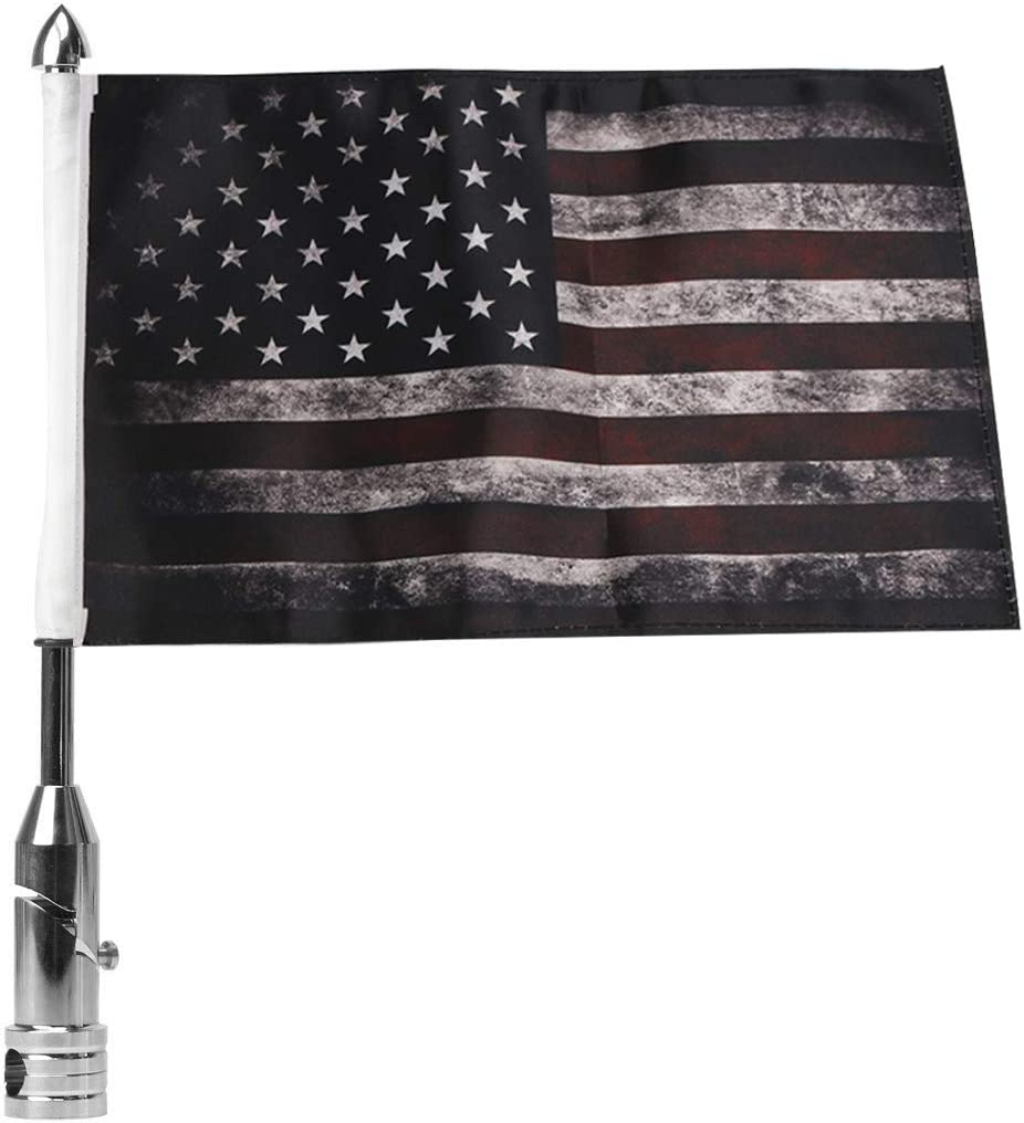 Motorcycle Flagpole Mount and Pirate Safety Flag 6x9 Inch Foldable 90/° Flag Pole Holder Bracket Fit for 1//2 Luggage Rack Harley Touring Spring Honda Goldwing etc.