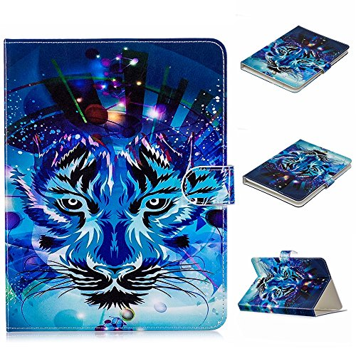 (Universal 7.5-8.5 inch Tablet Case, Dteck Pretty Cute Stand Flip Folio Wallet Case with Card Slot PU Leather Protective Cover for iPad Mini,Kindle,Galaxy Tab & Other 7.5-8.5 inch Tablet,Blue Tiger)