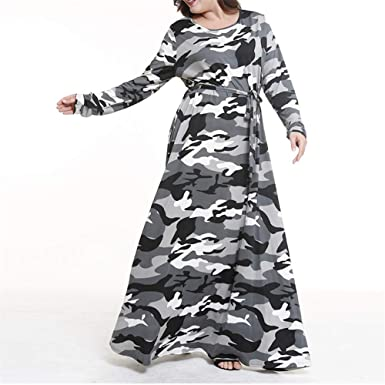 Noonan. Women Camouflage Dress Plus Size Ladies Long Sleeves Dress ...