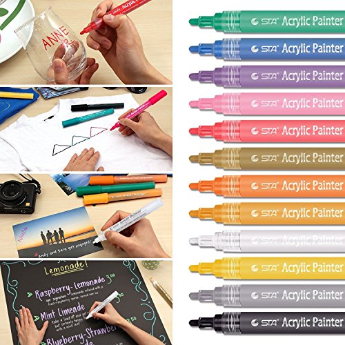 Slendima 1 Pack 12 Colors Acrylic Paint Marker Pens Set - Medium Point Tip-Drawing for Rock, Paper, Glass,Metal,Canvas, Wood, Ceramic, DIY Crafts, Easter Egg,Fabric,Body Painting by Slendima