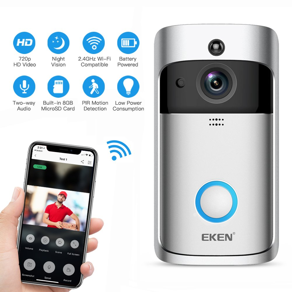 EKEN Video Doorbell 2, Smart Doorbell, 720P HD Wifi Camera Real-Time Video Two-Way Audio Night Vision Motion Detection App for IOS and Android FREE Built-in 8GB Card and Two Batteries