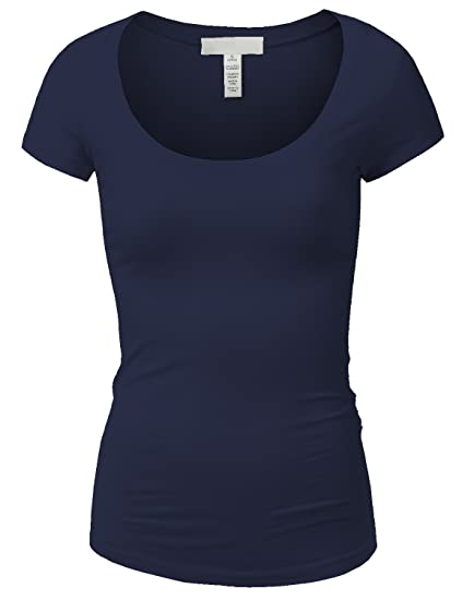7e330a1a37f3 Active Basic Womens Plain Basic Deep Scoop Neck T-Shirt with Cap Sleeves - Various  Colors (Large, Navy) at Amazon Women's Clothing store: Athletic T Shirts
