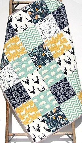Modern Quilt, Baby Boy Bedding Woodland Deer Bears Buck Chevron Handmade Crib or Toddler Size