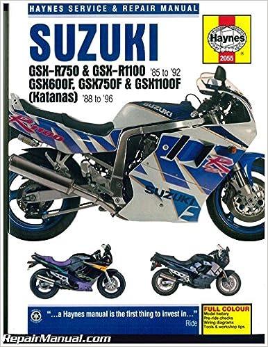[DIAGRAM_3ER]  H2055 Suzuki GSX-R 750, GSX-R 1100 1985-1992 Katana 600 750 1100 1988-1996  Haynes Motorcycle Repair Manual: by Publisher: Amazon.com: Books | 1992 Gsxr 750 Engine Diagram |  | Amazon.com