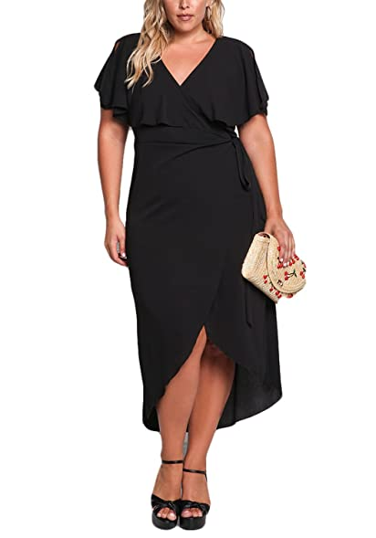 Deb Shops Debshops Womens Plus Size Layered Wrap Maxi Dress At