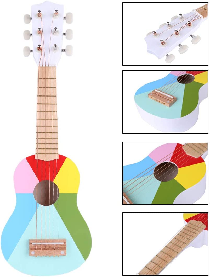 Rolanli Guitarra para Niños, 21 Pulgadas 6 Cuerdas Guitarra Juguete de Instrumentos Musicales Juguetes Educativos para Niños Infantil Principiantes
