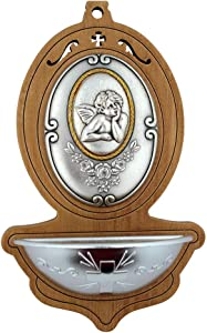 VILLAGE GIFT IMPORTERS Holy Water Font | Light Wood | 5 Styles | Holy Figures and Saints | Christian Home Goods (Infant Angel)