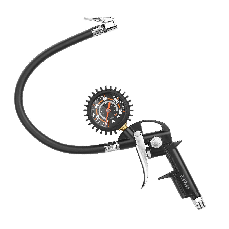 Inflador Digital de Neumáticos con Medidor de Presión 150 PSI Preciso Medidor de Neumáticos con Válvula Presta y Schrader, pinza para valvula de aire, ...