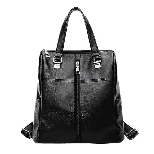 c442ffabbaf0b3 Amazon.com: Girl Leather School Bag Rakkiss Vintage Backpack Satchel Tote  Women Travel Shoulder Bags (One_Size, Black): Clothing