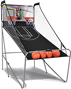 GYMAX Dual Shot Basketball Arcade Game, Folding Electronic Basketball Game for 2 Players with 4 Balls, LED Score Board & Arcade Sound