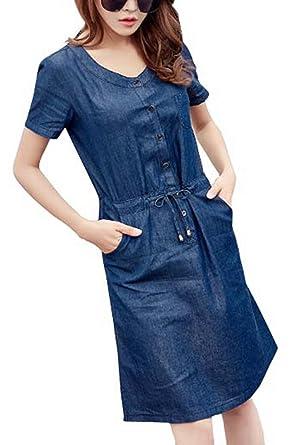 Omuutr Damen Sommerkleid Jeanskleid Denim Blusenkleid Rundhals