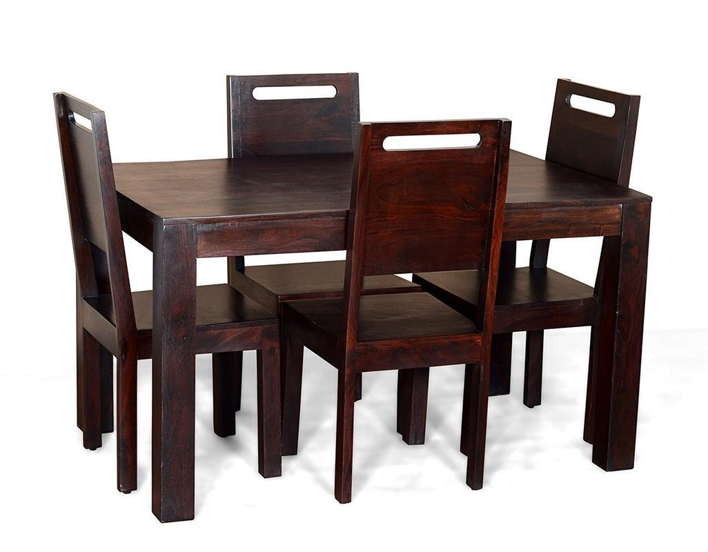 Jiya Creation Contemporary Style 4 Seater Rectangular Dining Table Set Teak Wood Finish Amazon In Home Kitchen
