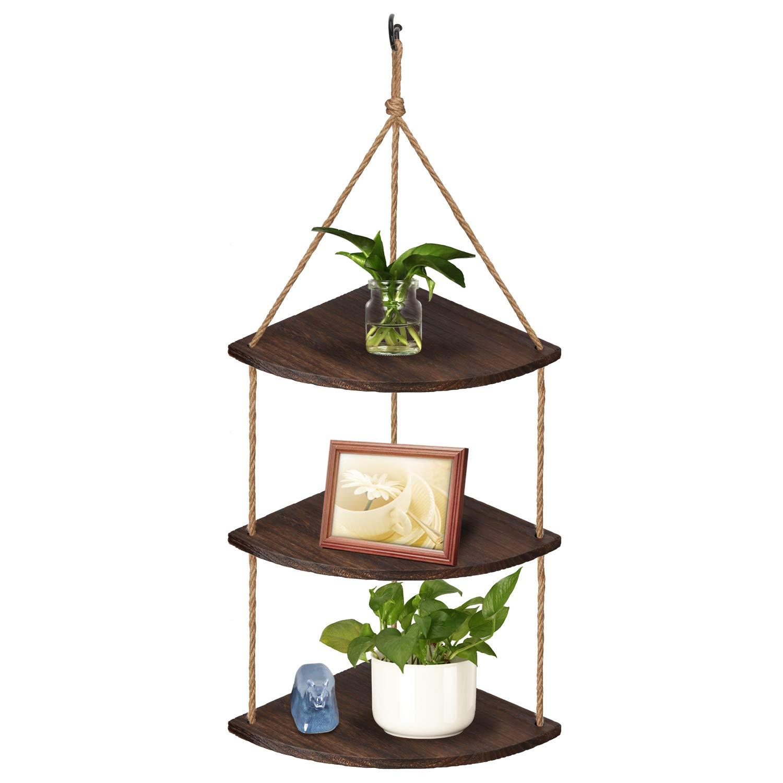 TJ.MOREE Hanging Corner Plant Shelf 3 Tier Window Shelves - Rustic Wood Shelves Farmhouse Hanging Rope Shelf - Home Decor Display Planter Rack (Dark Brown)