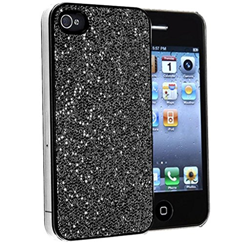 Mobile Case Mate iPhone 5s noir Mousseux Paillettes clip on Dur Coque couverture case cover Pare-chocs avec Stylet