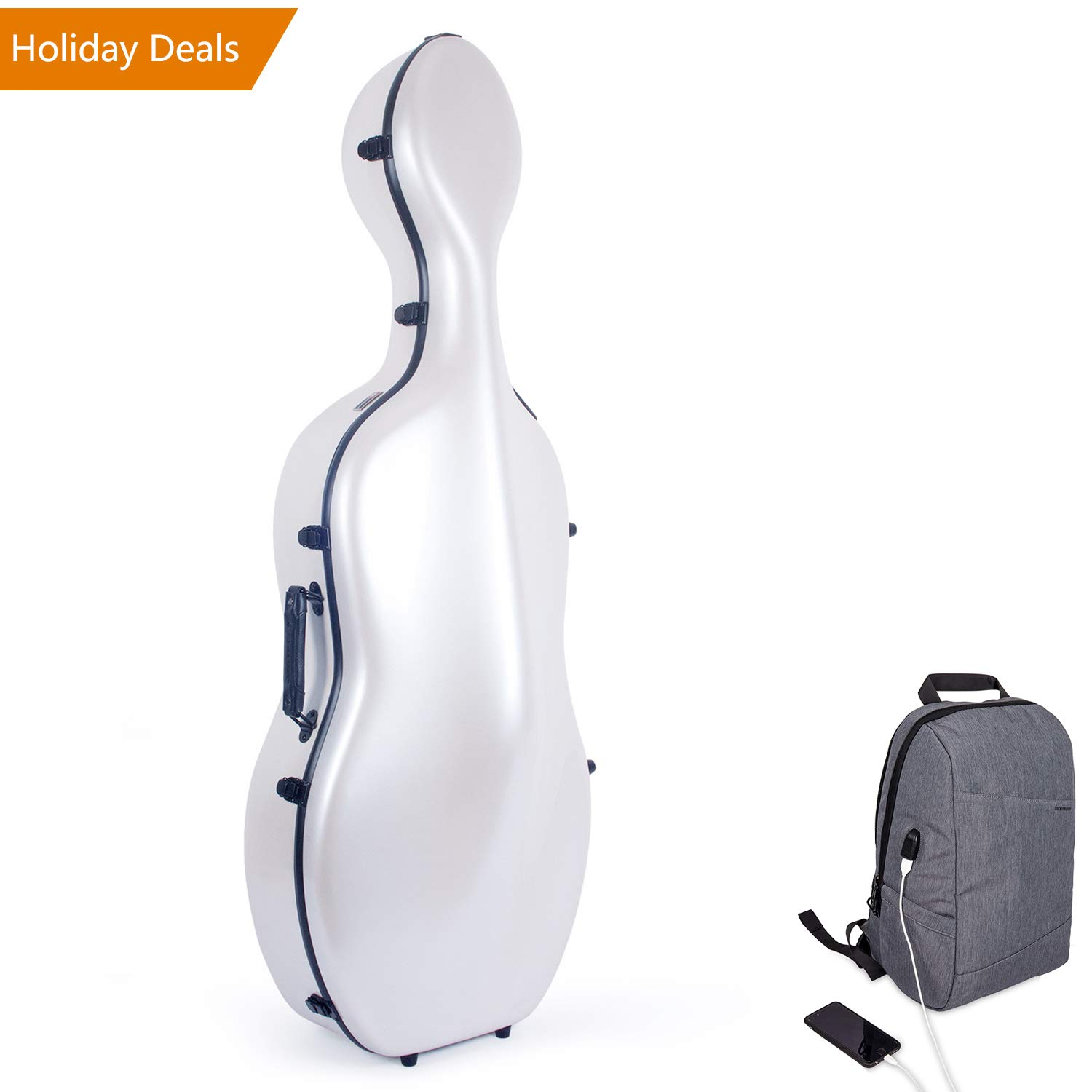 Crossrock Fiberglass Cello 4//4 Full Size Hardshell Case with Wheels in White CRF1000CEFWT
