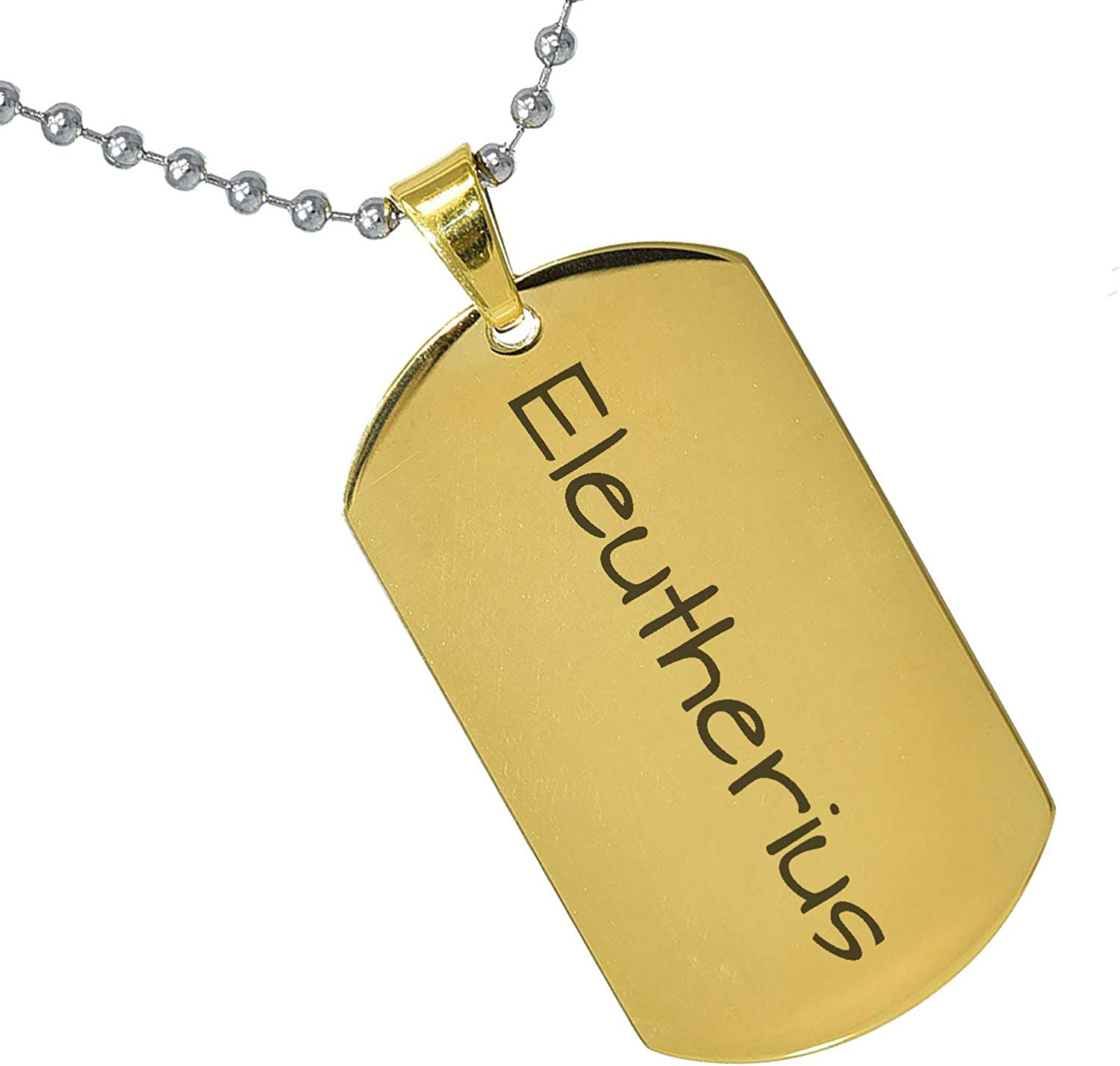 Stainless Steel Silver Gold Black Rose Gold Color Baby Name Eleutherius Engraved Personalized Gifts For Son Daughter Boyfriend Girlfriend Initial Customizable Pendant Necklace Dog Tags 24 Ball Chain