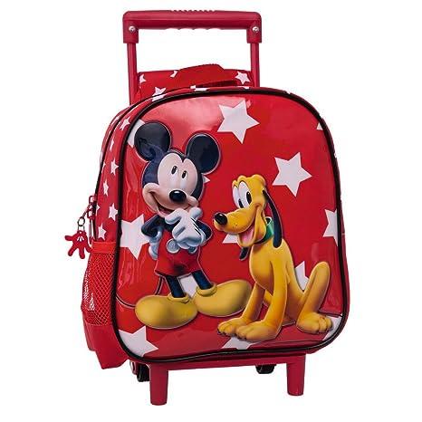 Disney Mickey y Pluto Mochila Preescolar con Carro, Color Rojo, 5.75 litros